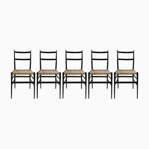 Chaises de Salle à Manger Modèle 646 Leggera par Gio Ponti pour Cassina, 1950s, Set de 5
