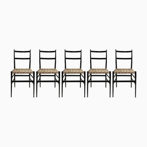 Model 646 Leggera Dining Chairs by Gio Ponti for Cassina, 1950s, Set of 5