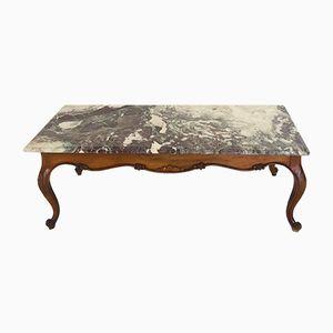 Mesa vintage con tablero de mármol, años 50
