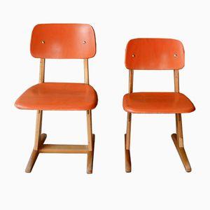 Orangene Vintage Kinderstühle von Casala, 2er Set