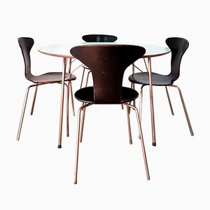 FH3600 Dining Table with 4 Mosquito Chairs by Arne Jacobsen for Fritz Hansen, 1950s