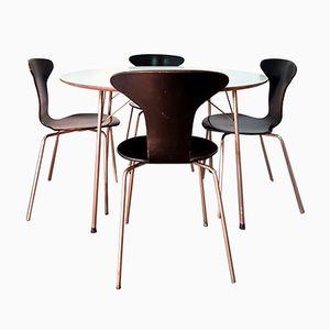 Tavolo da pranzo FH3600 con quattro sedie Mosquito di Arne Jacobsen per Fritz Hansen, anni '50