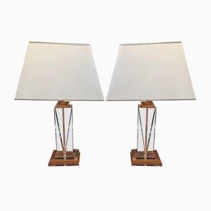 Lampes de Bureau Vintage en Laiton et Lucite, 1970s, Set de 2