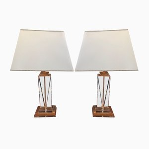Vintage Brass & Lucite Table Lamps, 1970s, Set of 2