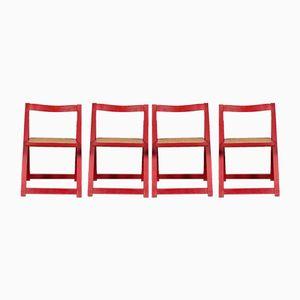 Chaises Pliantes Rouges Vintage en Jonc, 1980s, Set de 4