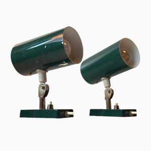 Appliques Murales Vertes Vintage, 1970s, Set de 2