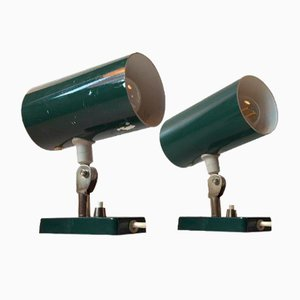 Vintage Green Pipe Wall Lights, 1970s, Set of 2