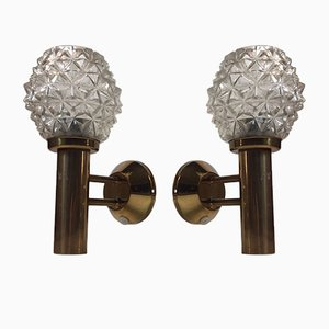 Mid-Century Brass & Pressed Glass Sconces, 1960s, Set of 2