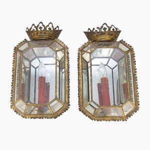 Antique Italian Geometric Tole & Glass Sconces, Set of 2