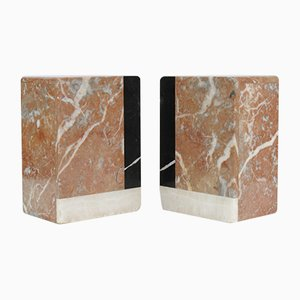 Red Marble Bookends, 1930s, Set of 2