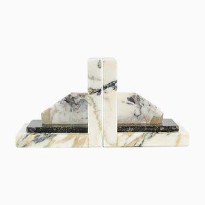 Sujetalibros vintage de mármol blanco. Juego de 2