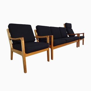 Danish Senator Teak Sofa & 2 Easy Chairs by Ole Wanscher for Jeppesen, 1960s