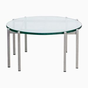 Vintage Metal & Glass Round Coffee Table, 1970s