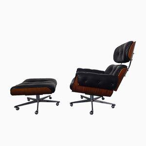 Schweizer Sessel aus Leder & Holz mit Fußhocker von Martin Stoll für Stoll Giroflex, 1960er