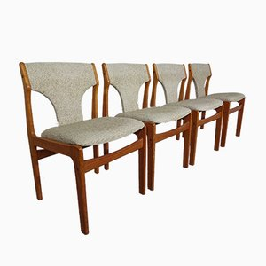 Vintage Danish Teak & Wool Dining Chairs, Set of 4