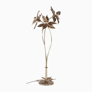 Vintage Floor Lamp with Golden Flowers from Massive