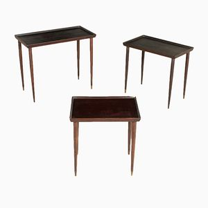 Ebonized Wood Coffee Tables, 1950s, Set of 3