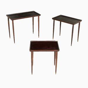 Tables Basses en Bois Noirci, 1950s, Set de 3