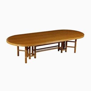 Tavolo in pelle e bambù di McGuire, anni '80