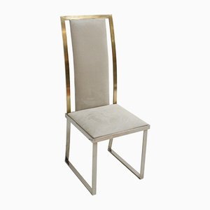 French Steel & Brass Grey Chair by Michel Mangematin, 1970s