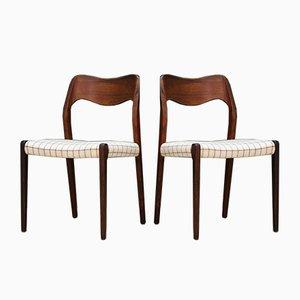 Vintage Stühle aus Palisander von N. O. Møller für Farstrup, 2er Set