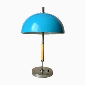 Lampada da tavolo vintage in metallo blu, anni '70