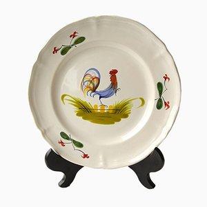 Plato Chanticleer con motivo de gallo de MBFA Pornic, años 60