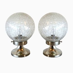 Italian Murano Glass Bedside Lamps from Mazzega, 1970s, Set of 2