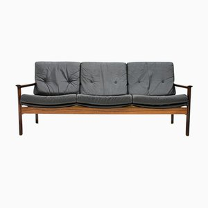 Scandinavian Three-Seater Sofa in Rosewood and Black Leather, 1960s