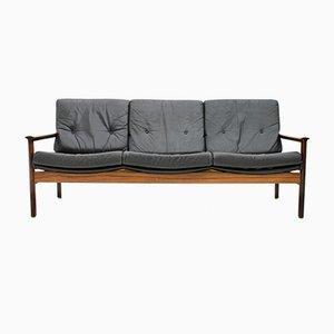 Sofá de tres plazas escandinavo de palisandro y cuero negro, años 60