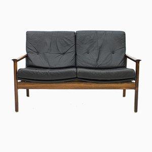 Sofá de dos plazas escandinavo de palisandro y cuero negro, años 60