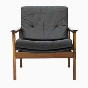 Scandinavian Easy Chair in Rosewood and Black Leather, 1960s