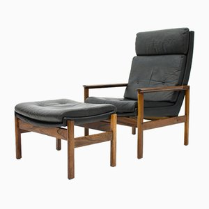 Scandinavian High Back Lounge Chair and Ottoman in Rosewood and Black Leather, 1960s