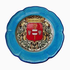 Emaillierter Keramikteller von Longwy St. Jean l'Aigle, 1960er