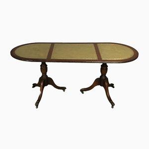 Tavolino da caffè in mogano con ripiano in pelle, anni '50