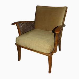 Mustard Yellow Armchair with Viennese Weave, 1950s