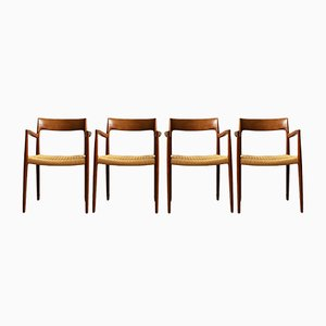 Mid-Century Danish 57 Teak Chairs by Niels O. Møller for J.L. Møllers, Set of 4