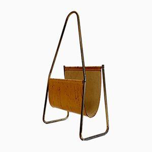 Revistero austriaco de cuero y latón de Carl Auböck, años 50