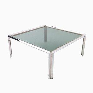 Tavolino da caffè quadrato in acciaio, anni '70
