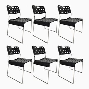 Black Omstak Chairs by Rodney Kinsman for Bieffeplast, 1970s, Set of 6