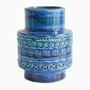 Vaso blu della serie Rimini di Aldo Londi per Bitossi, anni '60