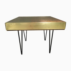 Vintage Square Hammered Brass and Copper Table