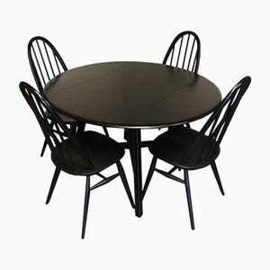 Mid-Century Ausziehbarer Esstisch & 4 Stühle aus schwarzen Ulmenholz von Ercol