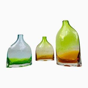 Handgemachte Schwedische Glaskaraffen, 1970er, 3er Set