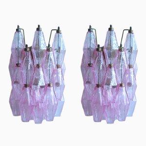 Applique Poliedri in vetro di Murano rosa, 1977, set di 2