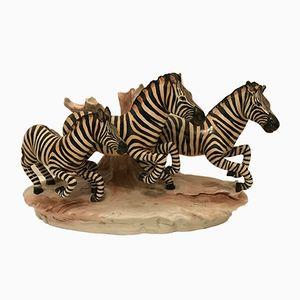 Vintage Ceramic Zebras by Cacciapuoti
