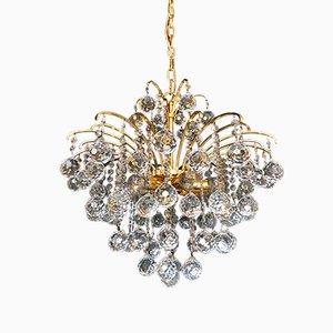 Lampadario placcato in oro con sfere di cristallo di Christoph Palme, anni '70