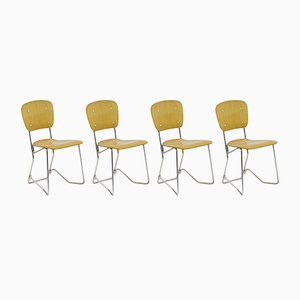 Vintage Aluflex Stacking Chairs by Armin Wirth for Ph. Zieringer K.G., Set of 4