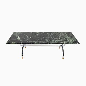 Chrome Table with Dark Green Marble, 1960s