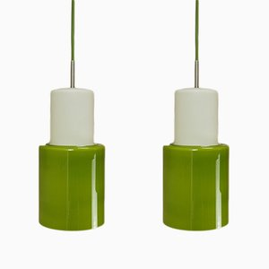Danish Green Opaline Glass Pendant Lights, 1960s, Set of 2